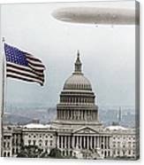 Washington Capitol And Blimp Canvas Print
