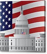 Washington Dc Capitol Us Flag Background Canvas Print
