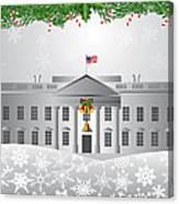 Washington Dc White House Christmas Scene Illustration Canvas Print