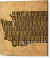 Washington Word Art State Map On Canvas Canvas Print