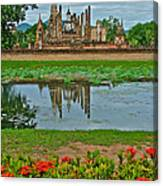 Wat Mahathat In13th Century Sukhothai Historical Park-thailand Canvas Print