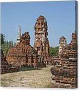 Wat Mahathat Prangs And Chedi Dtha0231 Canvas Print
