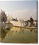 Wat Rong Khun And Its Reflection In Chiang Rai Thailand  Canvas Print