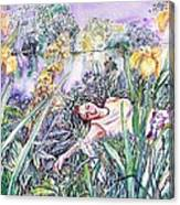 Watching Dragonflies  Canvas Print