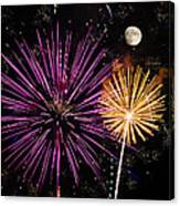 Watching Pink And Gold Explosion - Fireworks And Moon II Canvas Print