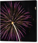 Watching Pink And Gold Explosion - Fireworks And Moon I  Canvas Print