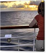 Watching The Sunrise At Sea Canvas Print