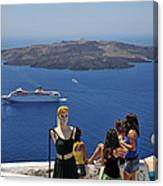 Watching The View In Santorini Island Canvas Print