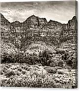 Watchman Trail In Sepia - Zion Canvas Print
