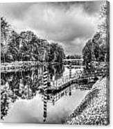 Water Bus Stop Bute Park Cardiff Mono Canvas Print