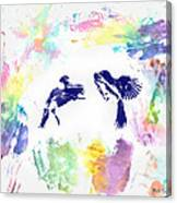 Water Color Bird Fight Canvas Print