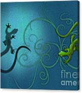 water colour print of twin geckos and swirls Duality Canvas Print