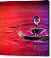 Water Drop In Red And Blue - Water Drop Photograph Canvas Print