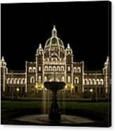 Water Fountain By Parliament Buildings In Victoria Bc Canvas Print