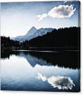 Water Reflection Blue Black And White Canvas Print