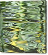 Water Reflection Green And Yellow Canvas Print