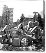 Water Sculpture In Spokane Canvas Print