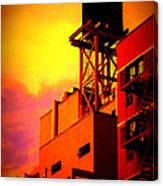 Water Tower With Orange Sunset Canvas Print