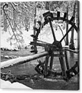 Water Wheel In Snow Canvas Print