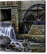 Water Wheel Plimouth Grist Mill At Jenney Pond Canvas Print