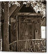 Water Wheel Shed I Sepia Canvas Print