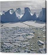 Water Worn Iceberg In Sea Ice Lazarev Canvas Print