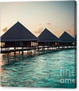 Waterbungalows At Sunset Canvas Print