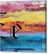 Watercolor E And Serenity Prayer Canvas Print