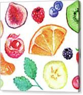 Watercolor Exotic Fruit Berry Slice Set Canvas Print