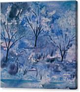 Watercolor - Icy Winter Landscape Canvas Print