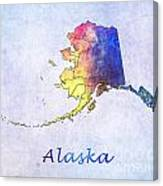Watercolor Map Of Alaska      United States Canvas Print