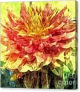 Watercolor Of Dreamy Dahlia Canvas Print