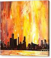 Watercolor Painting Of Skycrapers Of Downtown Chicago As Viewed  Canvas Print