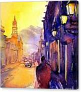 Watercolor Painting Of Street And Church Morelia Mexico Canvas Print