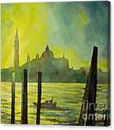 Watercolor Painting Of The Dome Of San Giorgio Maggiore Church I Canvas Print
