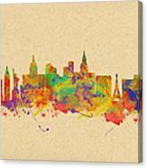 Watercolor Skyline Of Las Vegas Nevada  Usa Canvas Print