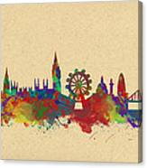 Watercolor Skyline Of London Canvas Print