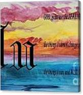 Watercolor U And Serenity Prayer Canvas Print