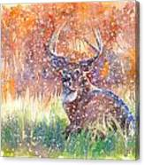 Watercolour Painting Of A Stag In The Snow Canvas Print