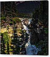 Waterfall And Mountain In Jasper Canvas Print