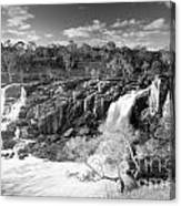 Waterfall Black And White Canvas Print