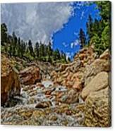 Waterfall In The Rockies Canvas Print