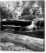 Waterfalls Mill Black N White Canvas Print