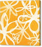 Waterflowers- Orange And White Canvas Print