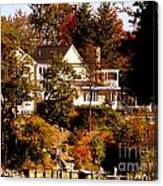 Waterfront Home In Fall Canvas Print