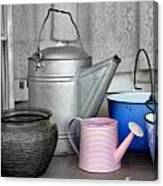 Watering Cans And Buckets Canvas Print