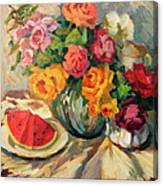 Watermelon And Roses Canvas Print