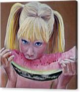 Watermelon Bite Canvas Print