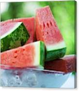 Watermelon Wedges In A Bowl Of Ice Cubes Canvas Print