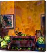 Watermelons On The Window Sill Canvas Print
